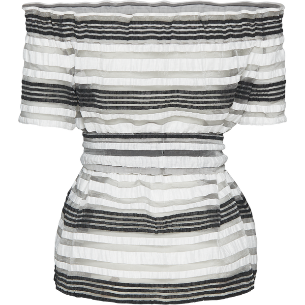 Pattern striped-linen-off-the-shoulder-blouse