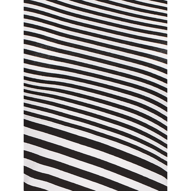 Black and White striped-one-shoulder-tee