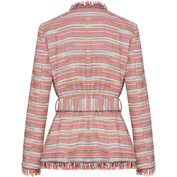 Pattern multi-tweed-fringe-jacket