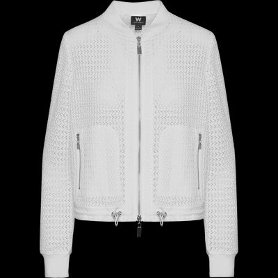 White open-work-bomber-jacket