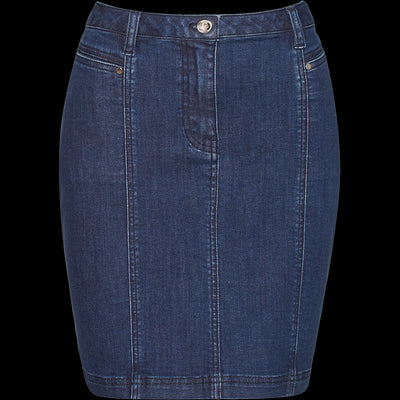 Blue stretch-denim-mini