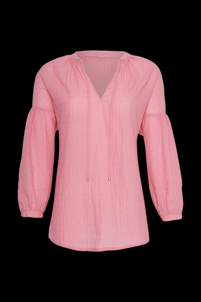 Pink Pucker Cotton Peasant Blouse