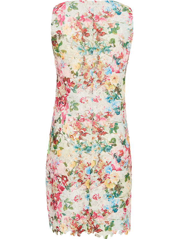 Printed Lace Scallop Hem Sleeveless Dress