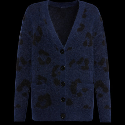 XS Blue Animal Print Jacquard Cardigan Sweaters W by Worth Worth Collection