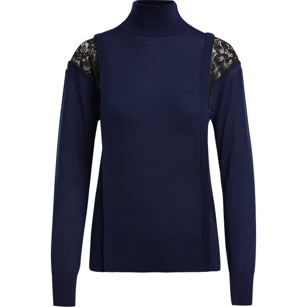 XS Sapphire Turtle Lace Sweater Sweaters W by Worth Worth Collection