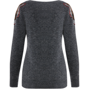 XS Heather Grey Sequin Trim Pullover Sweaters W by Worth Worth Collection