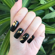 Load image into Gallery viewer, Gold Flakes (Black) - Yay to Nails