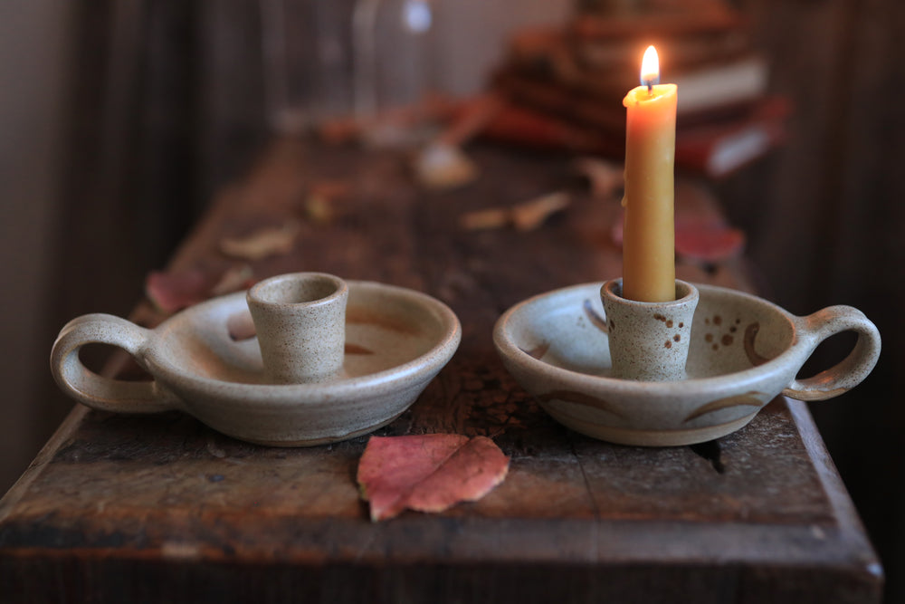 69 Candle Holder Pair with Beeswax Candlesticks