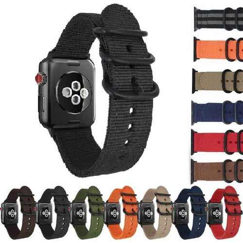NATO Style Watch Strap For Apple Watch - Solid Colors - Black Hardeware