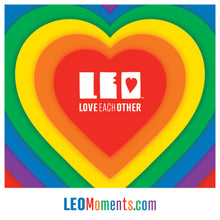 "Load image into Gallery viewer, ""Rainbow Heart"" LEO sticker design"