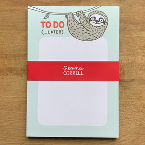 Sloth To Do A5 Notepad
