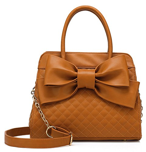 Amazon.com: Scarleton Quilted Bow Satchel Handbag for Women, Vegan Leather Crossbody Bag, Shoulder Bag with Removable Adjustable Strap, Tote Purse, Red, H104810: Gateway