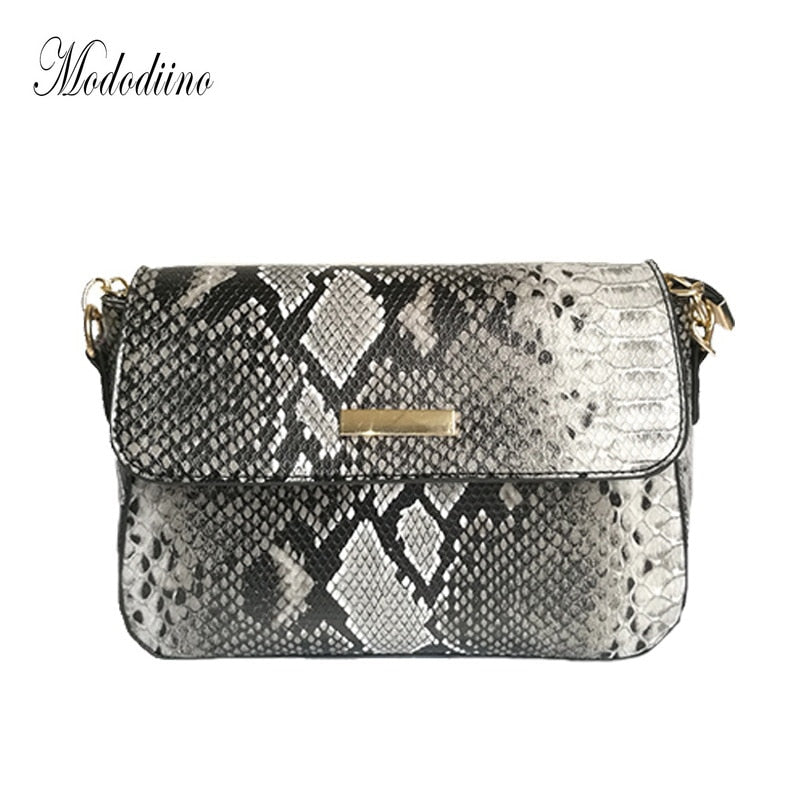 Mododiino Serpentine Crossbody Bags Chains Shoulder Bag PU Leather Bag Snake Pattern Luxury Handbags Women Bags Designer DNV1071
