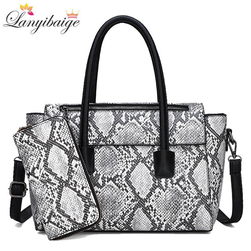 2019 Brand women handbag two-piece set snake print large handbag high quality leather ladies shoulder crossbody bag women tote
