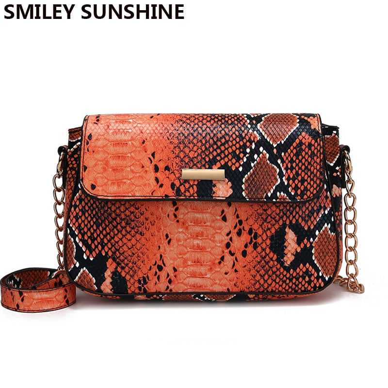 Small Crossbody Bag For Women 2019 Snake Print Leather Shoulder Bag Female Chain Messenger Bag Ladies Hand Bags sac main femme
