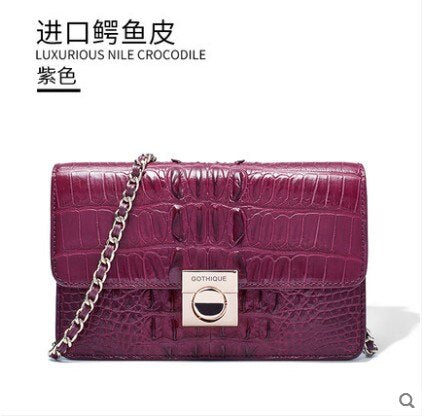 gete 2019 new New crocodile leather clutch for ladies Thai leather shoulder bag dinner bag chain lock clutch for ladies