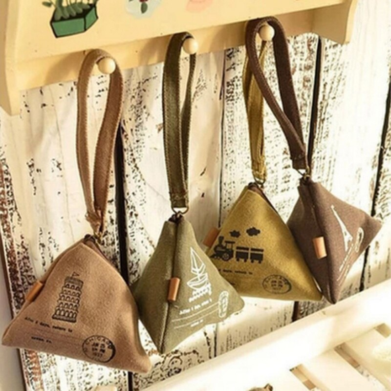 Cute Creative Wallet Canvas Retro Purse Zongzi Shape Zipper Type Small Items Storage Bag