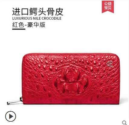 gete 2019 new New real crocodile wallet female long zipper money clip Thai leather lady  hand bag women clutch