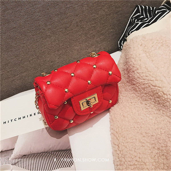Brand Design Children Chain Small Messenger Bag Mini Flap Girl Fashion Purses Clutch Candy Color Lingge Korean Change Money Bag