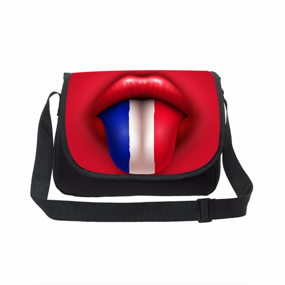 Colorful Lip Canvas Messenger BagsBig Mouth Print Teenager School Crossbody Handbag Designer Men Women travel Laptop Shoulderbag