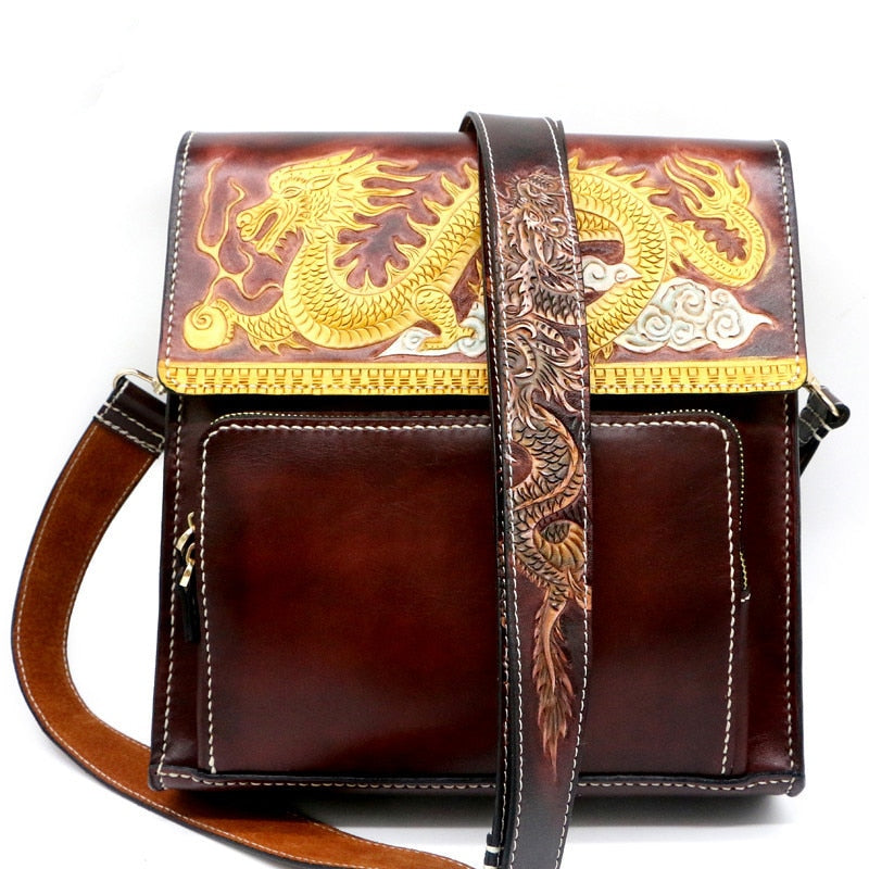 Men Vegetable Tanned Leather Shoulder Bag Money Holder Cowhide Hand-carved Chinese Dragon Clutch Purse Clutches Envelope Gifts