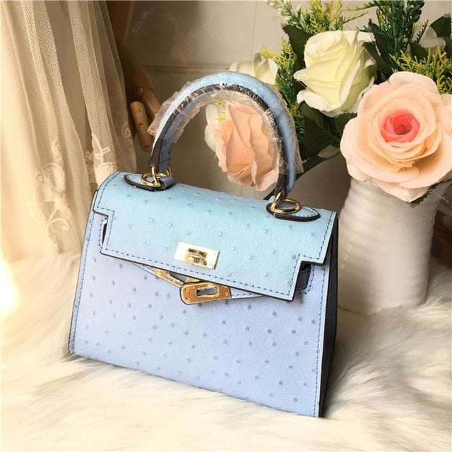 Women Platinum Package Real Leather Lady Handbag Ostrich Print Cowhide Shoulder Lock Color Luxury Designer Bolso Mujer Hot Sale