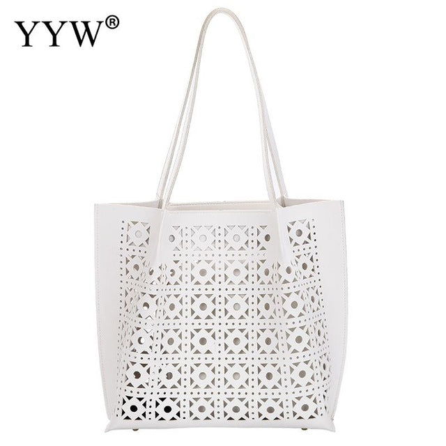 2019 NEW Fashion Hollow Women Tote Bag White Female PU Leather Shoulder Bags Large Capacity Lady Handbag For Book 2pcs/set