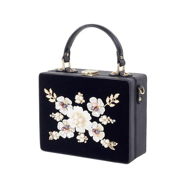 2018 New Women Graceful Floral Totes High-end Dinner Party Messenger Bag Vintage Ethnic Evening Bags Corduroy Black Shoulder Bag