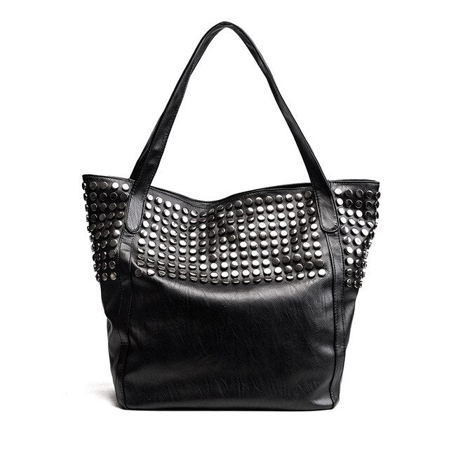 AUAU-Big Bag For Women Summer Shopper Bag Tote Rivet Large Capacity Soft Leather Casual Black Handbag Ladies Sling Bag
