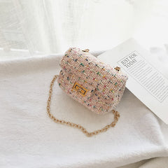 Spring Casual Mini Woolen Small Girl's Cross body Bag Cute Brand Designer Children Shoulder Bag Kid's Messenger