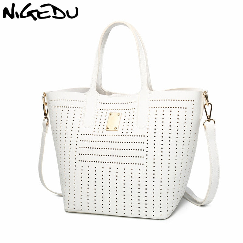 NIGEDU Women handbag  Hollow Out design female shoulder bag Quality pu  Leather lady totes white messenger bags Bolsa Feminina