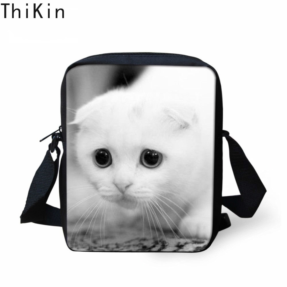 THIKIN 3D Children Mini Cross Body Bags Cute Animal White Cat Pug Dog Printed Women Small Shoulder Bags Boys School Custom Bags