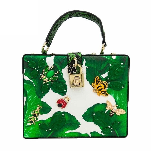 Double Flower Green Banana Leaf Small Insects Women Tote Bag Shoulder Handbags Crossbody Bags Ladies Casual Box Clutch Bag