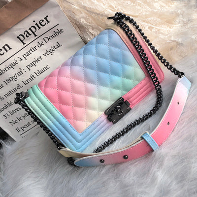 Bag for Women 2019 Rainbow Ladies Crossbody Bag Designer Luxury Handbags Plaid Caviar Fashion Messenger Bags Women's bag