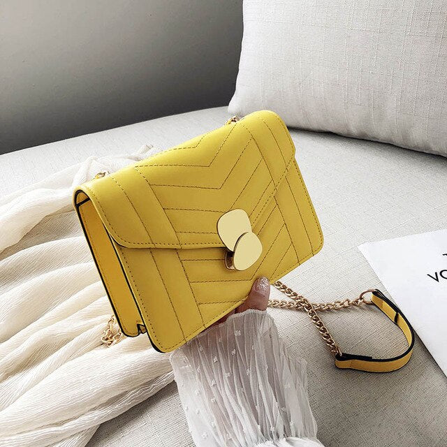 Luxury Handbags Women Bags Designer PU Leather Chains Women's Shoulder Messenger Crossbody Bag Yellow White Bag For Women 2019