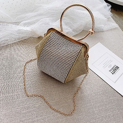 Crystal Clutches Bag Party Purse Women Evening Bags Handbag Chain Crossbody Messenger Bags Wedding Fashion Designer 2019 Silver