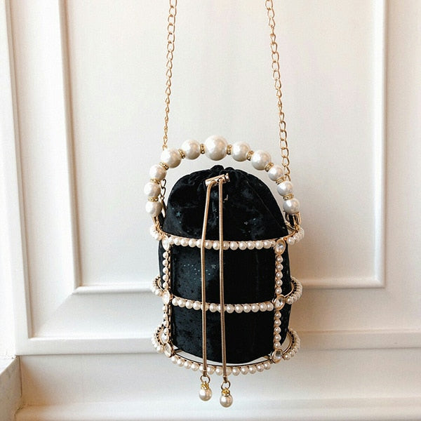 Hollow Out Pearl Bucket Evening Bag Women 2019 Luxury Designer Korean Handmade Alloy Metallic Clutch Bag Ladies Shoulder Bags