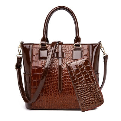 luxury crocodile trapeze bag women tote bags designer handbags high quality patent leather shoulder bag+Wallet famous brands Bag