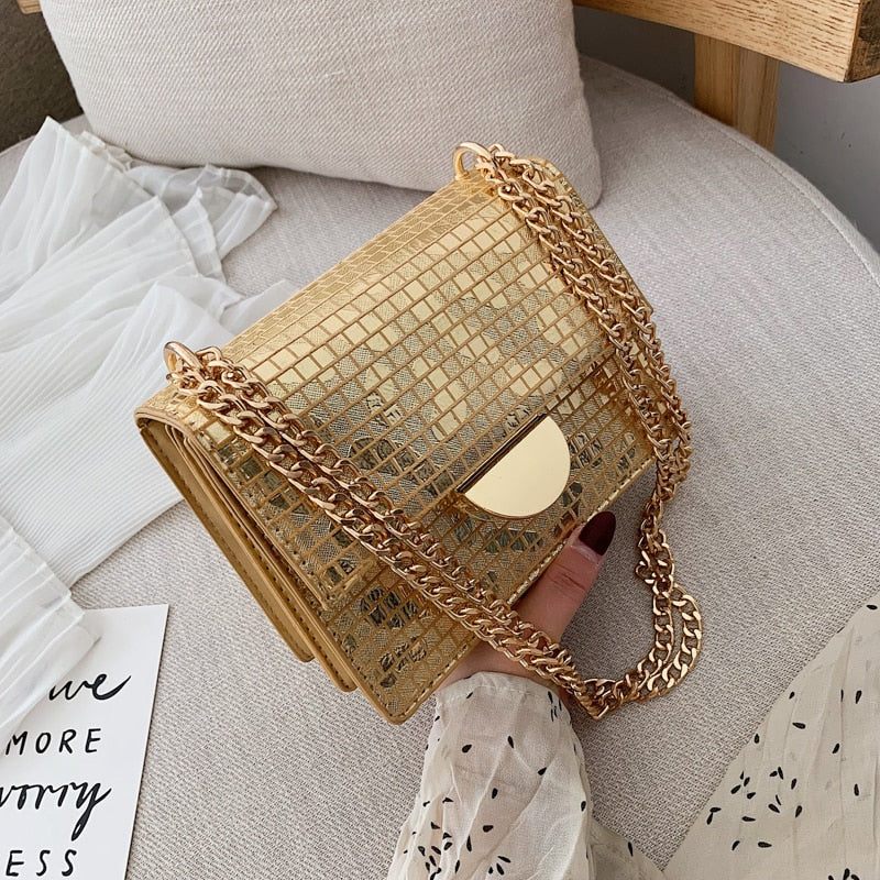 PU Leather Plaid Bag for Women 2019 Luxury Handbags Women Bags Designer Fashion Chains Small Shoulder Crossbody Bag Gold Silver