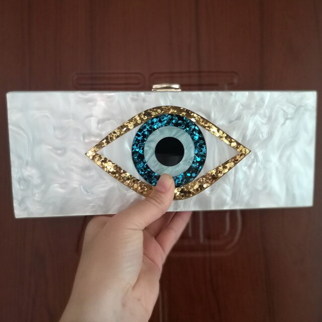 25X10 cm Pearl White Evil Eye Bag Acrylic Clutch Bag Ethnic Evil Eye Bag Purse  Evil Eye Purse Wallet Party Travel Handbags