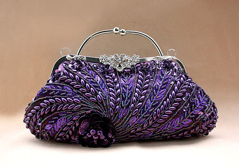 Purple Chinese Women's Beaded Sequined Wedding Evening Bag Clutch handbag Bride Party Purse Makeup Bag Free Shipping 1889-B
