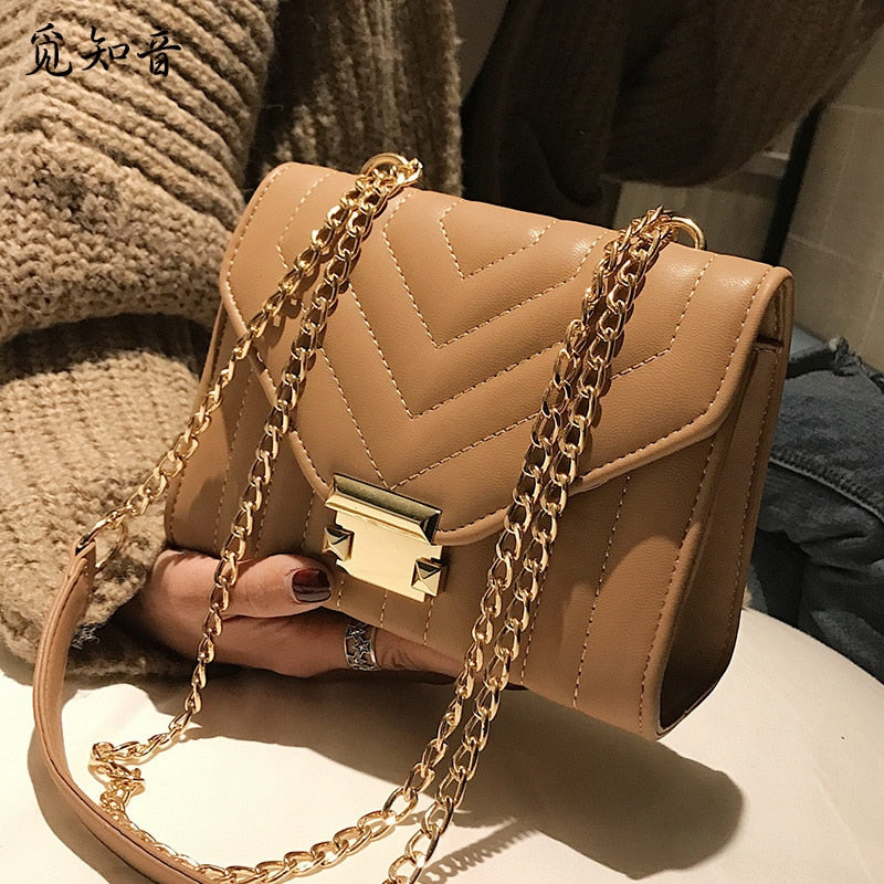 European Fashion Female Square Bag 2019 New High Quality Pu Leather Women's Designer Handbag Lock Chain Shoulder Messenger Bags