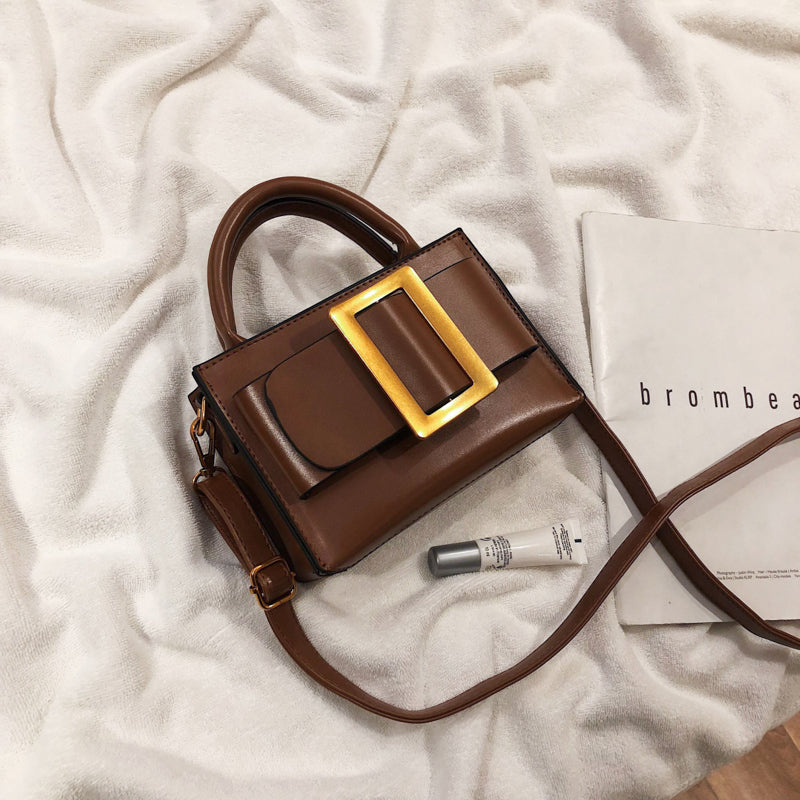 Sequined Small Crossbody Bags with Belt Buckle Decoration Vintage Leather Handbags and Purses Female Shoulder Messenger Hand Bag