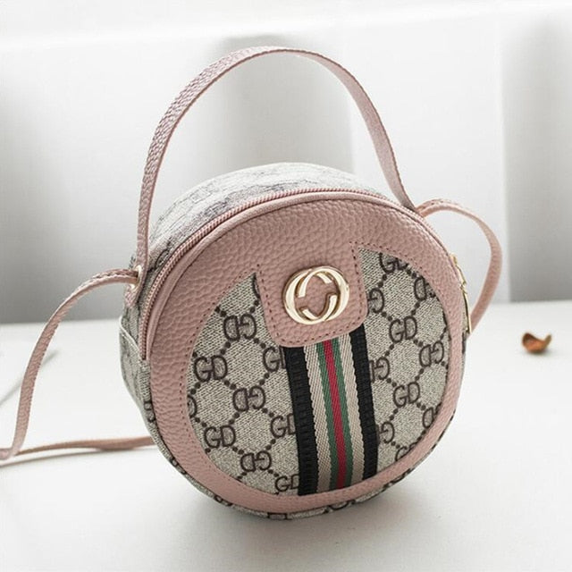 Willow Valley Round Messenger Shoulder Bags Pink Mini Handbags Student Coin Purse Pouch Small Black Cell Mobile Pocket