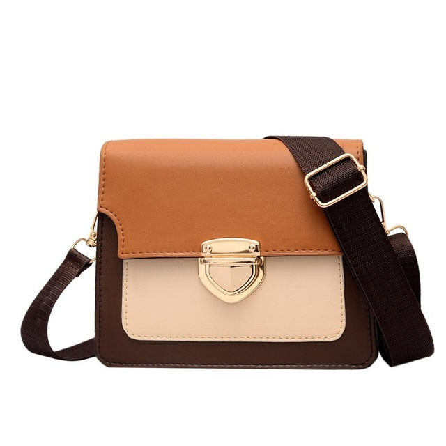Women's Shoulder Bag Fashion Hit Color Versatile Shoulder Messenger Bag Casual Small Square Bag Travel Lock Buckle Pack
