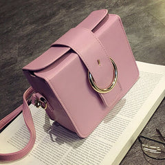 New 2019 Fashion Ladies Messenger Bag Shoulder Bags Small Square Round Buckle Korean Version Of The Simple Mini For Girls PU