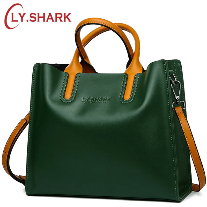 LY.SHARK Big Messenger Bag Women Shoulder Bag Female Bag Ladies Genuine Leather Bags For Women 2019 Women Handbags Green Black