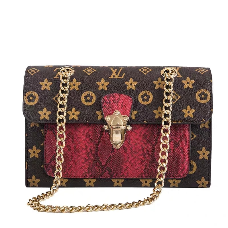 JULIE New Women's Handbag Messenger Bag Retro Printed Letter Ladies Shoulder Bag Luxury Brand Design Women's Square small bag