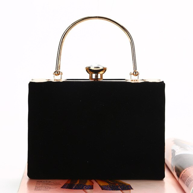 Solid Elegant Velour Hard-Surface Box Bag Rectangle Handbags Evening Bags Women Black Red Simple Fashion Party Clutches Ladies