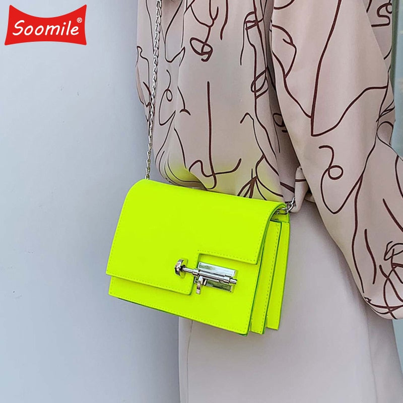Fashion Simple Chain Crossbody Bags for Women Yellow Green Pu Leather Shoulder Bag Lady Handbag Ladies Evening Bags